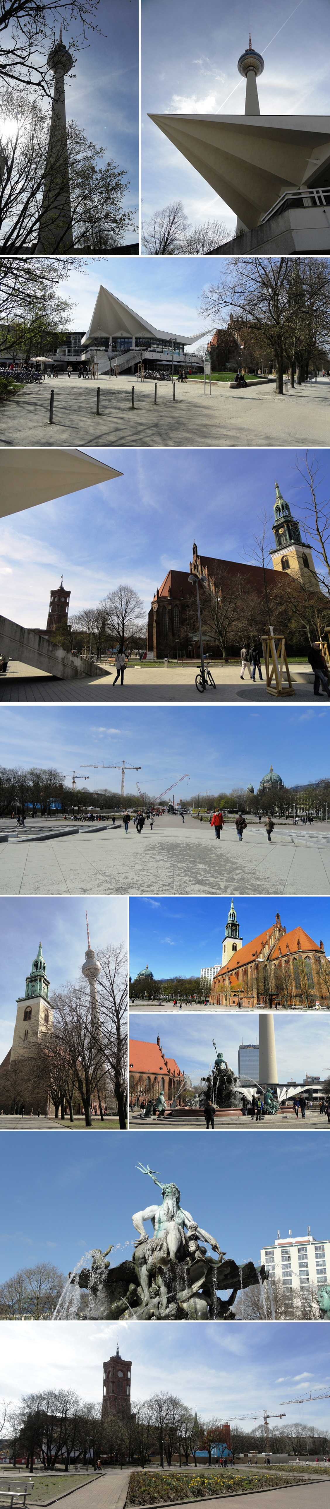 tour de la Télévision (Fernsehturm), l'Hôtel de Ville (Rotes Rathaus), une fontaine néobaroque de Neptune, l'Eglise Marienkirche