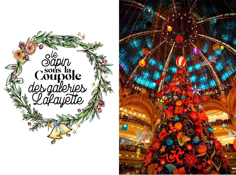 Balade de Noël à travers Paris - du Bon Marché aux Galeries Lafayette - Sapin de Noël des Galeries Lafayette
